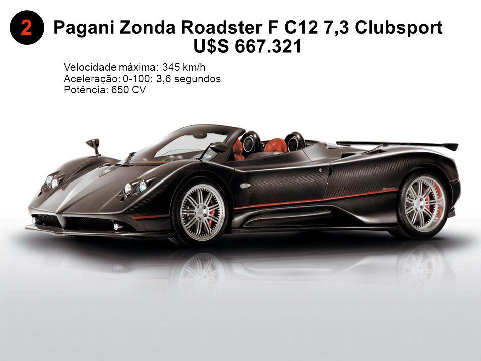 Pagani Zonda Roadster F C12 7,3 Clubsport Aceleração: 0-100: 3,6 segundos Velocidade máxima: 345 km/h 2 U$S 667.321 Potência: 650 CV
