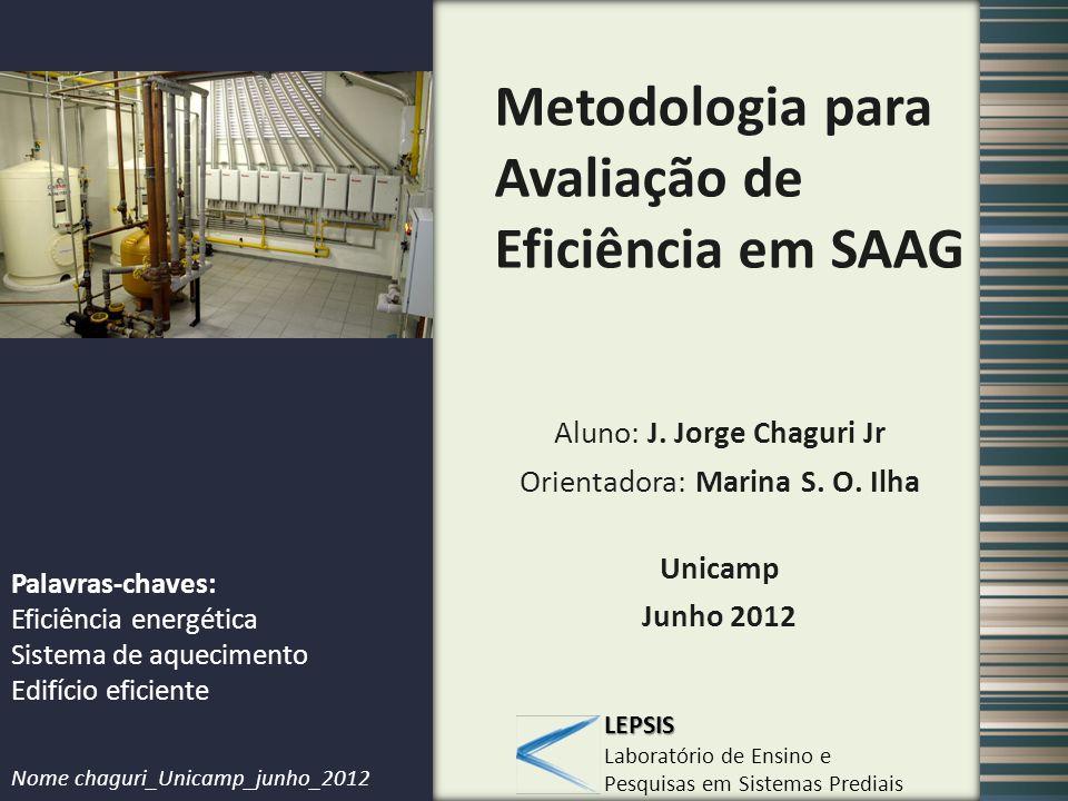 LEPSIS Laboratório de Ensino e Pesquisas em Sistemas Prediais Metodologia para Avaliação de Eficiência em SAAG Aluno: J. Jorge Chaguri Jr Orientadora: