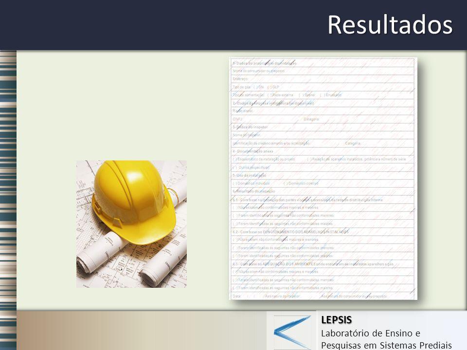 LEPSIS Laboratório de Ensino e Pesquisas em Sistemas Prediais Resultados