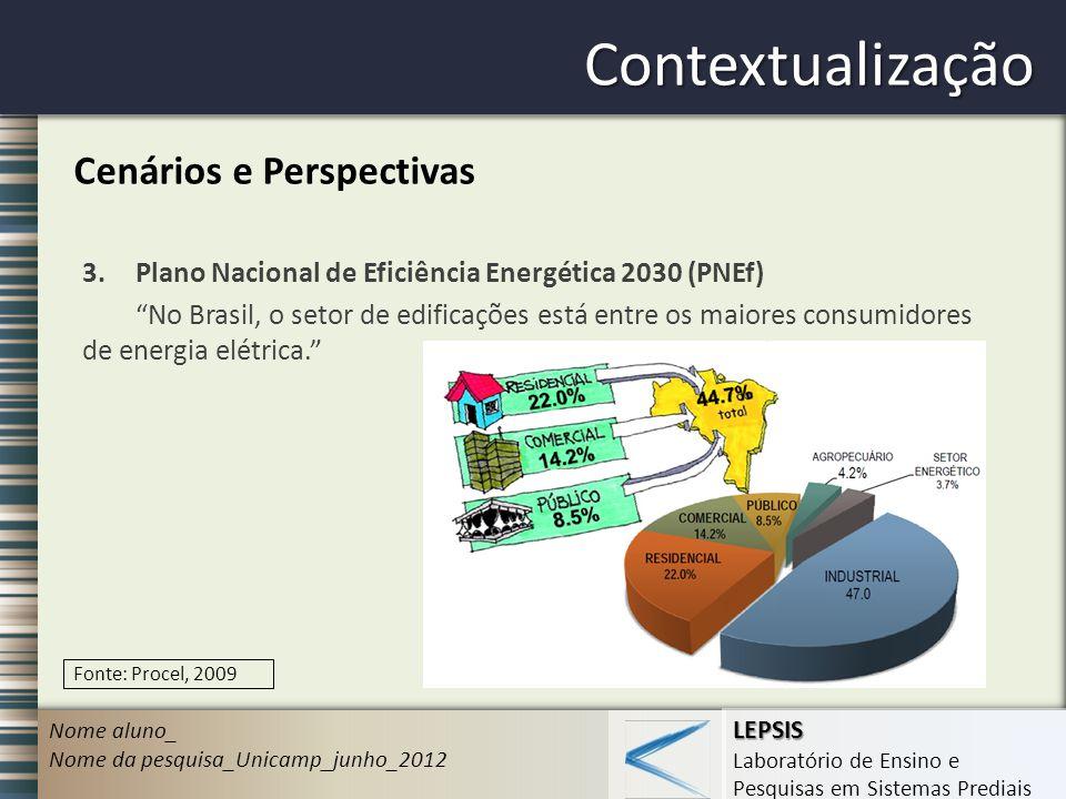 LEPSIS Laboratório de Ensino e Pesquisas em Sistemas Prediais Contextualização Nome aluno_ Nome da pesquisa_Unicamp_junho_2012 Cenários e Perspectivas 3.Plano Nacional de Eficiência Energética 2030 (PNEf) No Brasil, o setor de edificações está entre os maiores consumidores de energia elétrica.