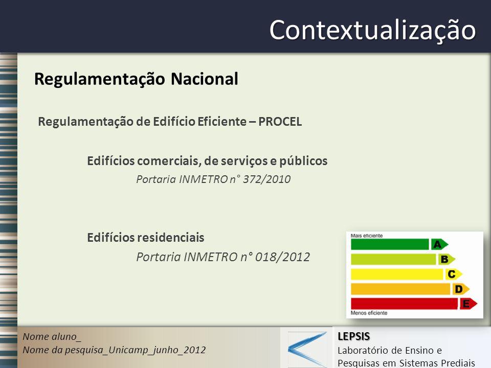 LEPSIS Laboratório de Ensino e Pesquisas em Sistemas Prediais Contextualização Nome aluno_ Nome da pesquisa_Unicamp_junho_2012 Regulamentação Nacional