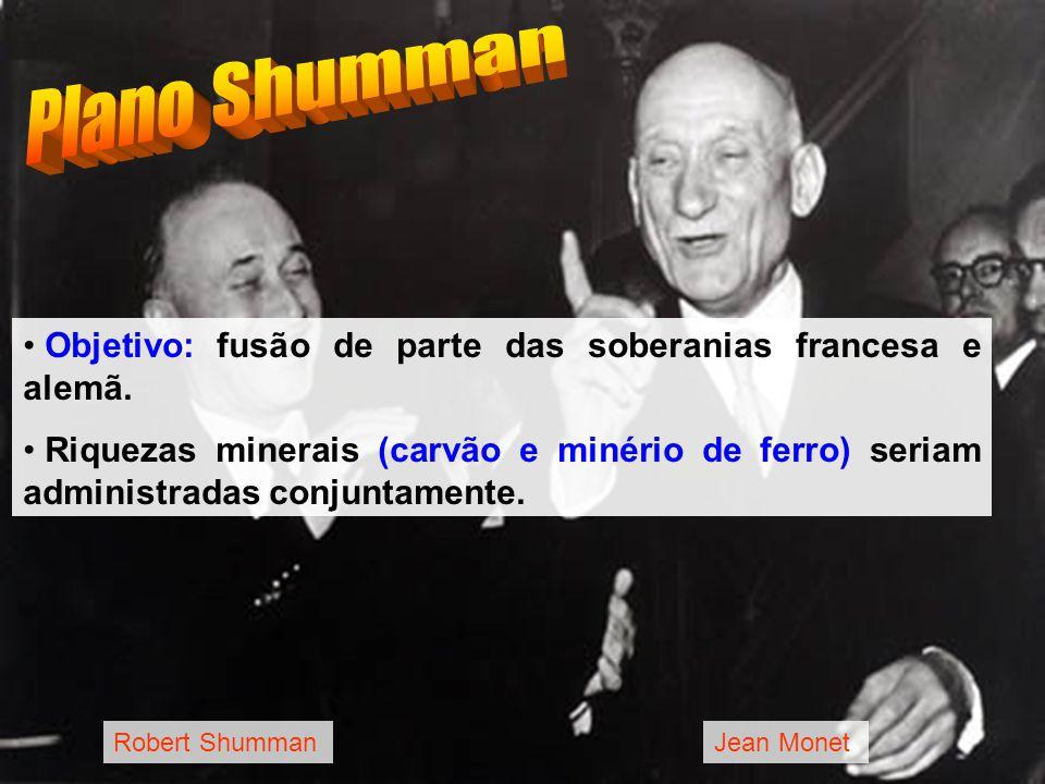 Robert ShummanJean Monet Objetivo: fusão de parte das soberanias francesa e alemã. Riquezas minerais (carvão e minério de ferro) seriam administradas