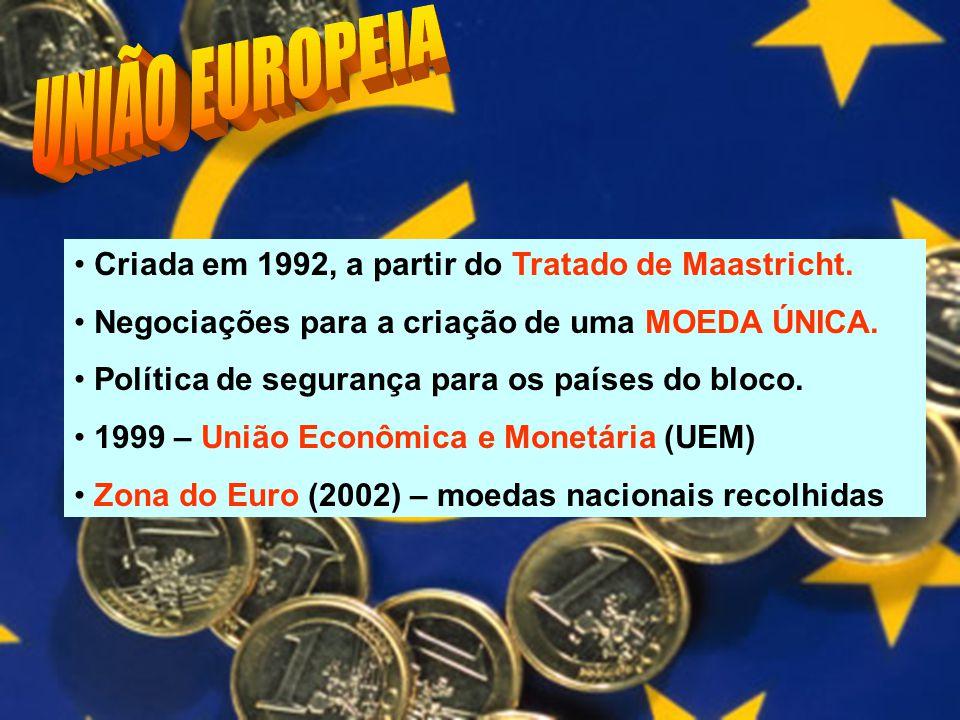 Criada em 1992, a partir do Tratado de Maastricht. Negociações para a criação de uma MOEDA ÚNICA. Política de segurança para os países do bloco. 1999