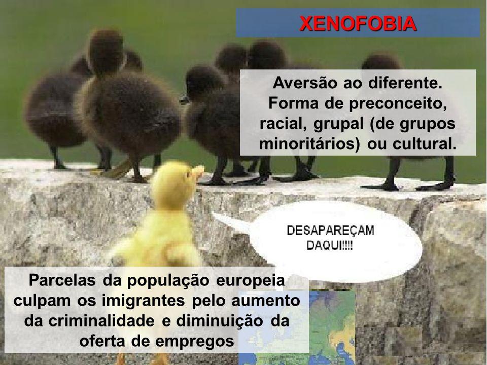 XENOFOBIA Parcelas da população europeia culpam os imigrantes pelo aumento da criminalidade e diminuição da oferta de empregos Aversão ao diferente. F