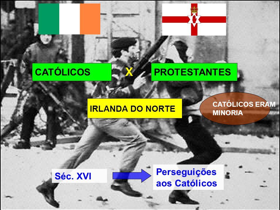 CATÓLICOSPROTESTANTES X IRLANDA DO NORTE Séc. XVI Perseguições aos Católicos CATÓLICOS ERAM MINORIA