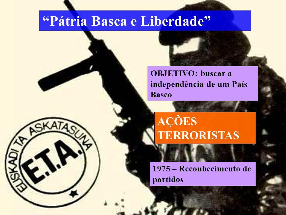 Pátria Basca e Liberdade AÇÕES TERRORISTAS OBJETIVO: buscar a independência de um País Basco 1975 – Reconhecimento de partidos