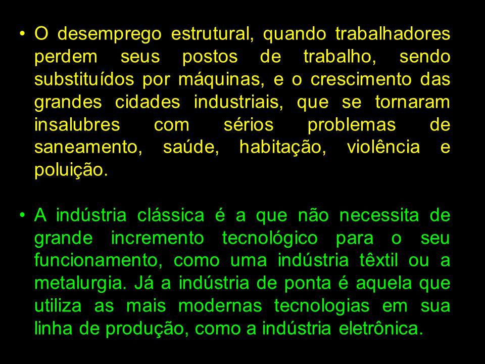 O desemprego estrutural, quando trabalhadores perdem seus postos de trabalho, sendo substituídos por máquinas, e o crescimento das grandes cidades ind