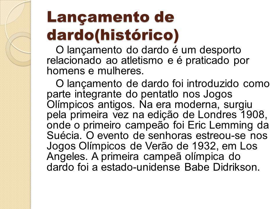 Lançamento de dardo(histórico) O lançamento do dardo é um desporto relacionado ao atletismo e é praticado por homens e mulheres. O lançamento de dardo