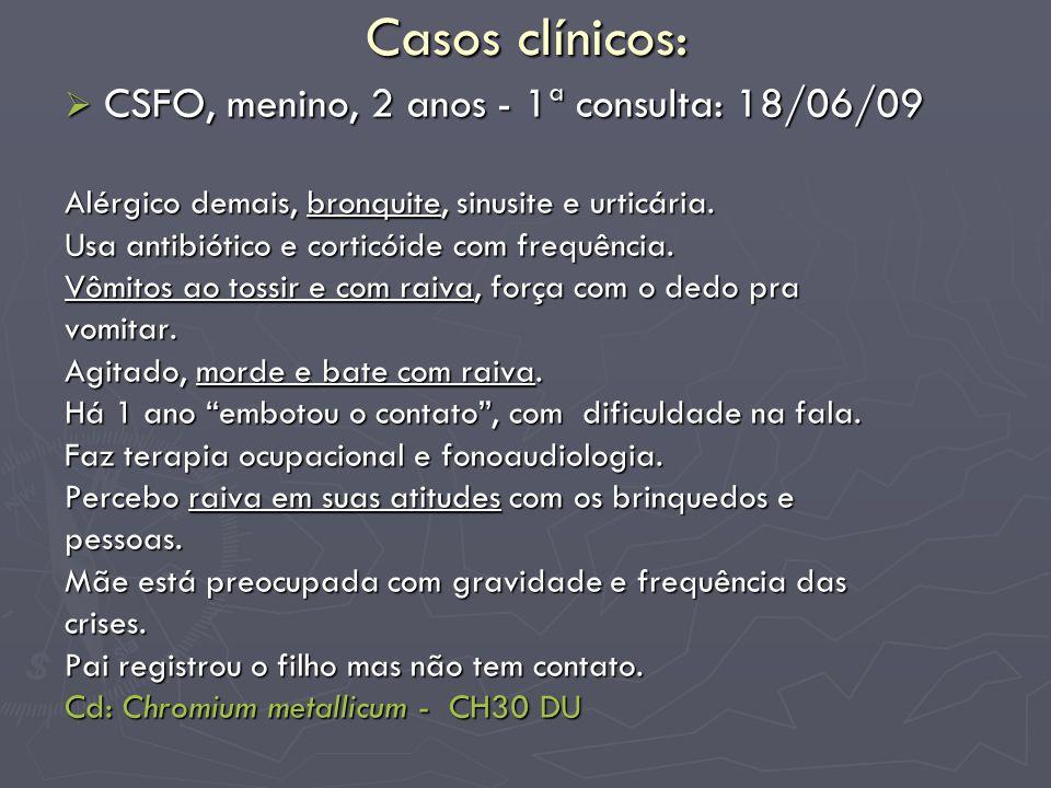 Casos clínicos: CSFO, menino, 2 anos - 1ª consulta: 18/06/09 CSFO, menino, 2 anos - 1ª consulta: 18/06/09 Alérgico demais, bronquite, sinusite e urtic