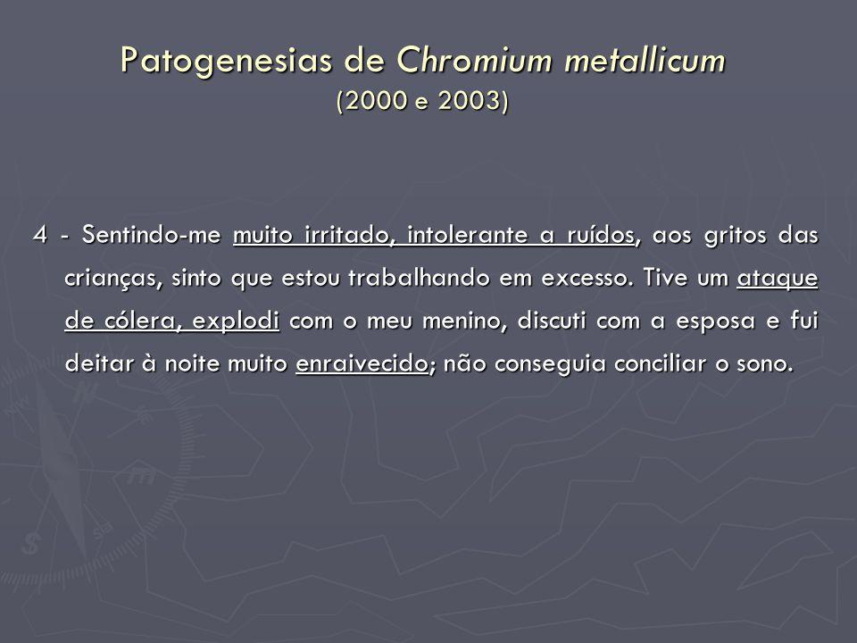 Patogenesias de Chromium metallicum (2000 e 2003) 4 - Sentindo-me muito irritado, intolerante a ruídos, aos gritos das crianças, sinto que estou traba