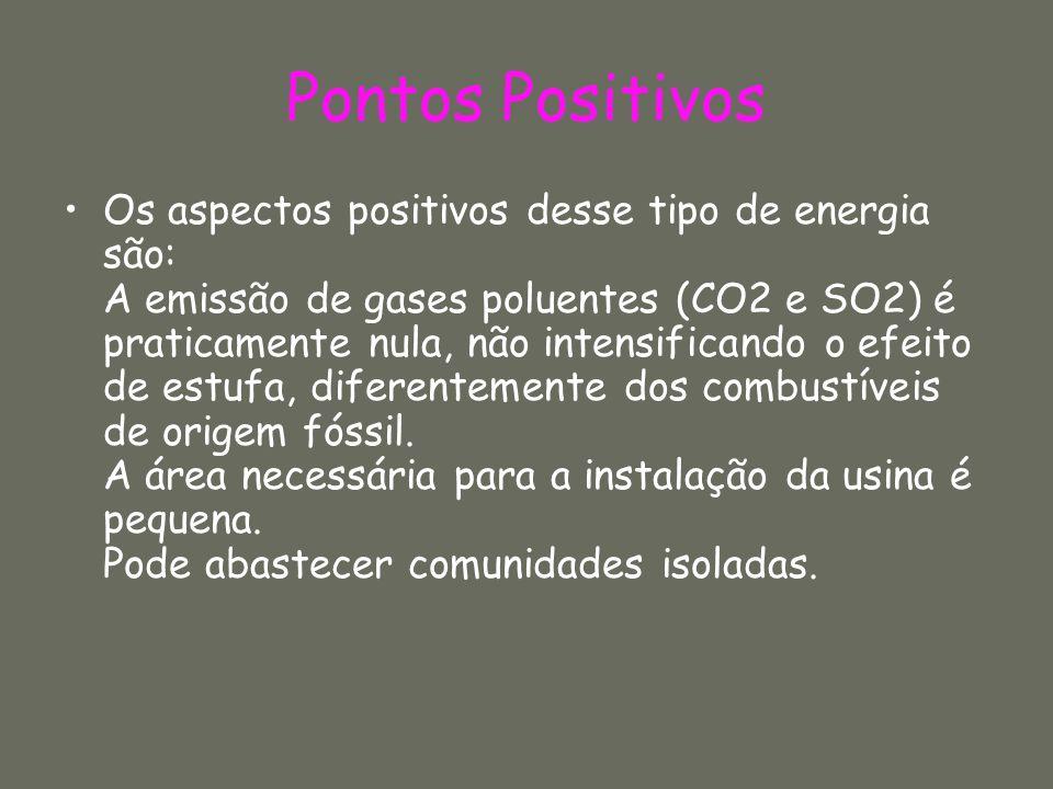 Pontos Positivos Os aspectos positivos desse tipo de energia são: A emissão de gases poluentes (CO2 e SO2) é praticamente nula, não intensificando o e