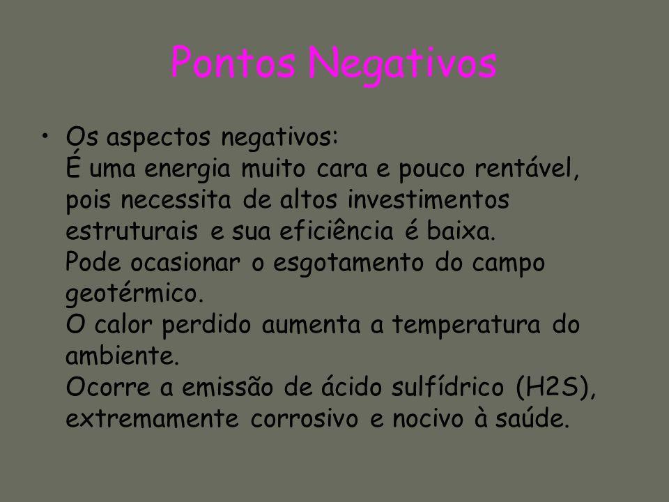Pontos Negativos Os aspectos negativos: É uma energia muito cara e pouco rentável, pois necessita de altos investimentos estruturais e sua eficiência