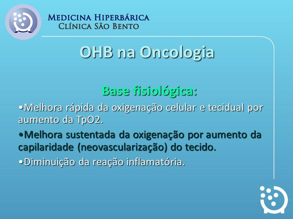 OHB na Oncologia Base fisiológica: Melhora rápida da oxigenação celular e tecidual por aumento da TpO2.Melhora rápida da oxigenação celular e tecidual
