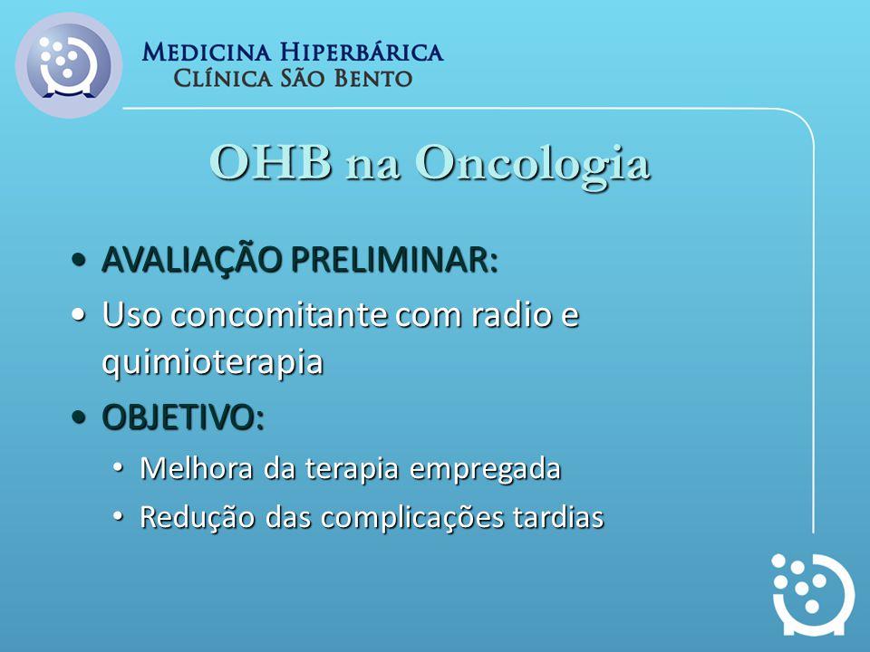 OHB na Oncologia AVALIAÇÃO PRELIMINAR:AVALIAÇÃO PRELIMINAR: Uso concomitante com radio e quimioterapiaUso concomitante com radio e quimioterapia OBJET