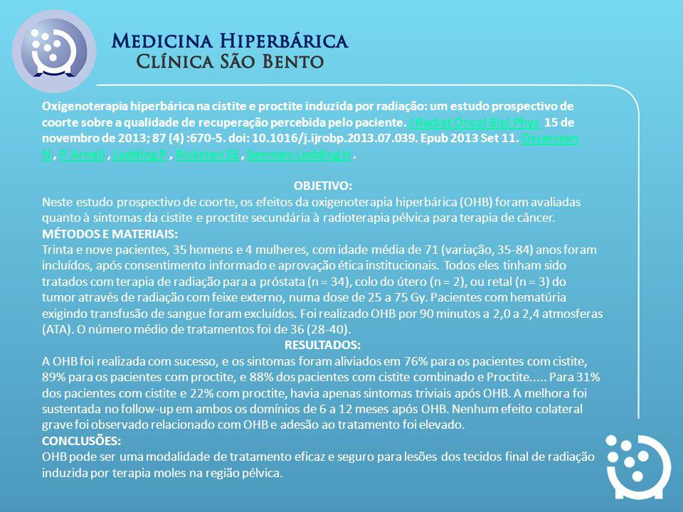 Oxigenoterapia hiperbárica na cistite e proctite induzida por radiação: um estudo prospectivo de coorte sobre a qualidade de recuperação percebida pel