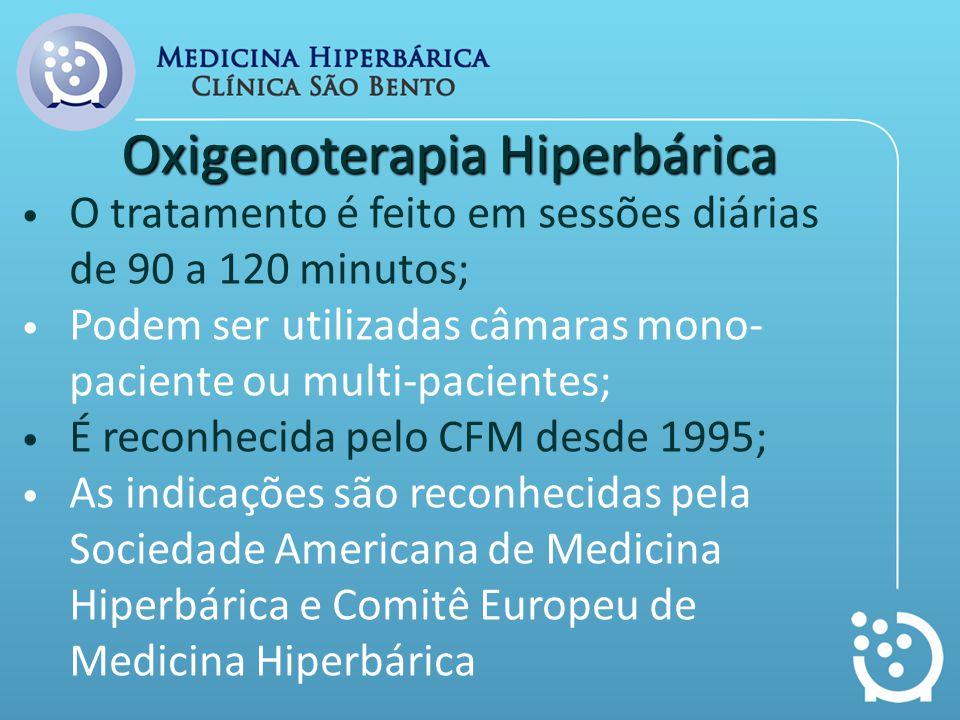 Oxigenoterapia Hiperbárica O tratamento é feito em sessões diárias de 90 a 120 minutos; Podem ser utilizadas câmaras mono- paciente ou multi-pacientes