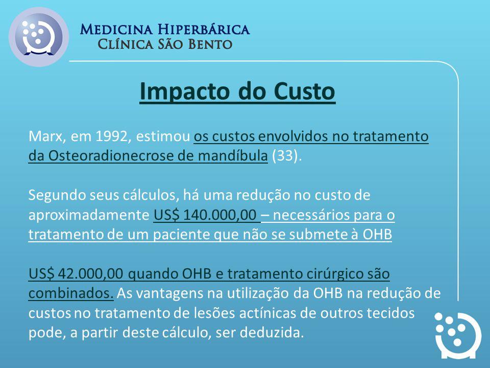 Marx, em 1992, estimou os custos envolvidos no tratamento da Osteoradionecrose de mandíbula (33). Segundo seus cálculos, há uma redução no custo de ap