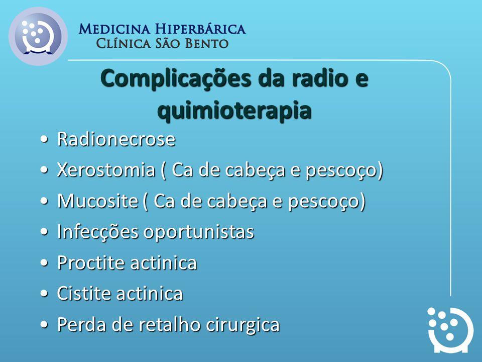 Complicações da radio e quimioterapia RadionecroseRadionecrose Xerostomia ( Ca de cabeça e pescoço)Xerostomia ( Ca de cabeça e pescoço) Mucosite ( Ca