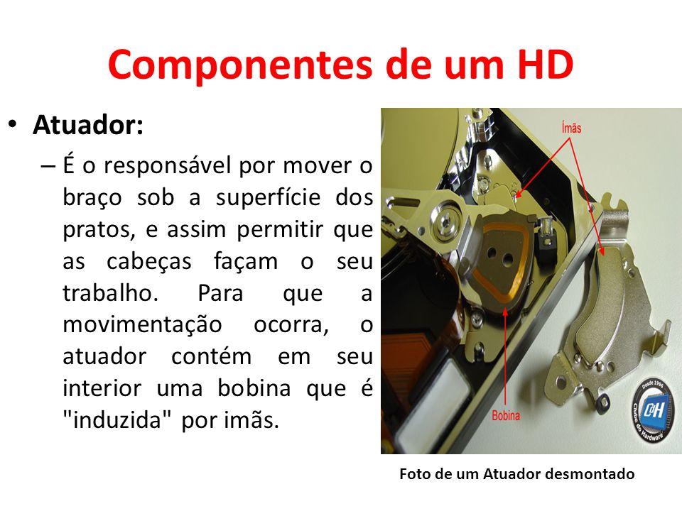 Componentes de um HD Atuador: – É o responsável por mover o braço sob a superfície dos pratos, e assim permitir que as cabeças façam o seu trabalho.