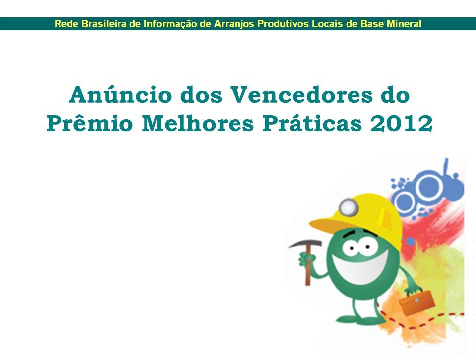 Rede Brasileira de Informação de Arranjos Produtivos Locais de Base Mineral Anúncio dos Vencedores do Prêmio Melhores Práticas 2012