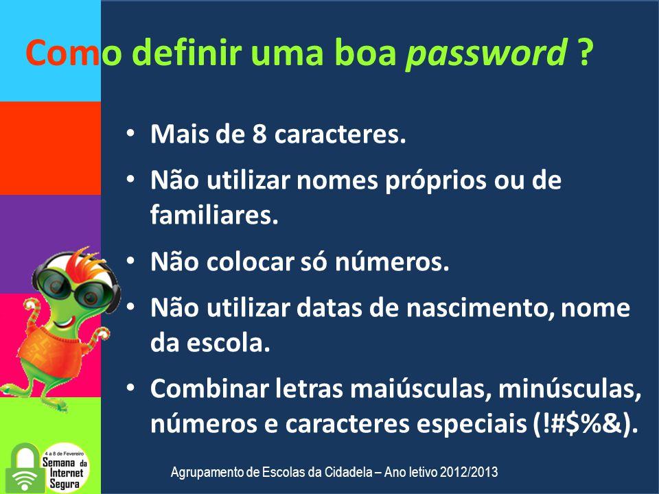 Quanto demora a descobrir uma password ? Password Tempo Só NúmerosImediato Só maiúsculas Só minúsculas Menos de 6 horas Letras maiúsculas e minúsculas