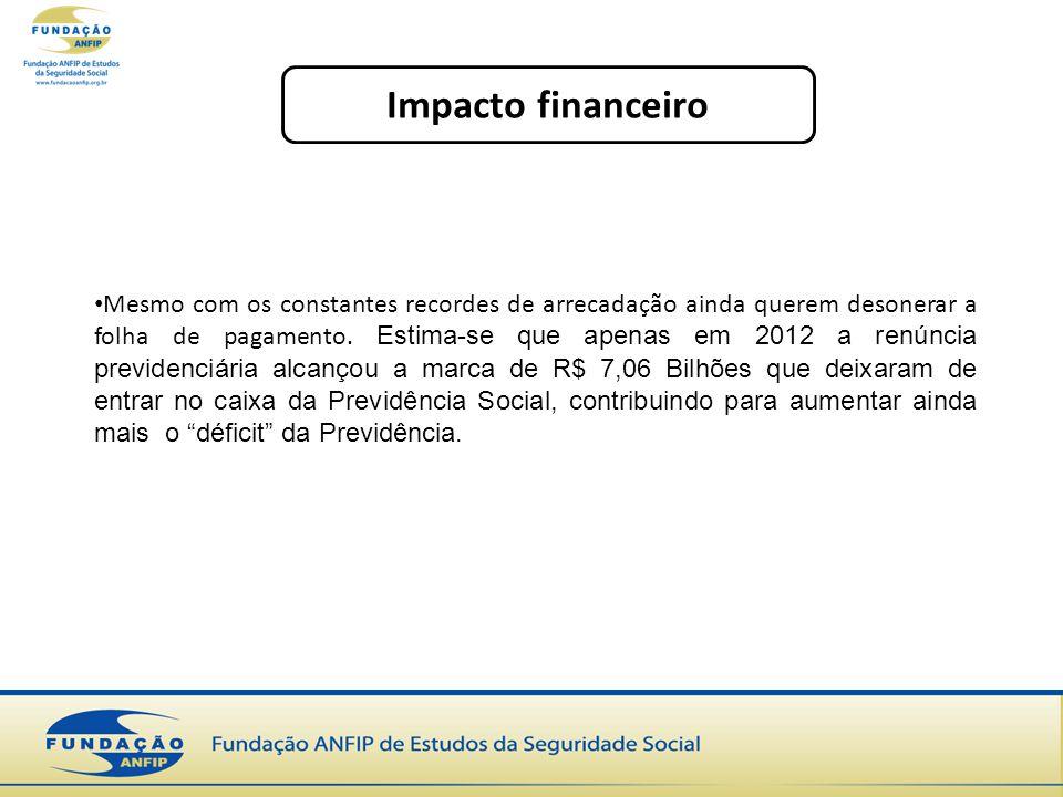 Impacto financeiro Mesmo com os constantes recordes de arrecadação ainda querem desonerar a folha de pagamento. Estima-se que apenas em 2012 a renúnci