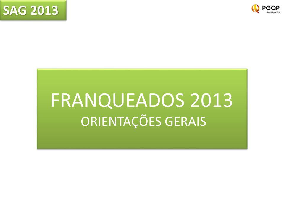 SAG 2013 FRANQUEADOS 2013 ORIENTAÇÕES GERAIS FRANQUEADOS 2013 ORIENTAÇÕES GERAIS