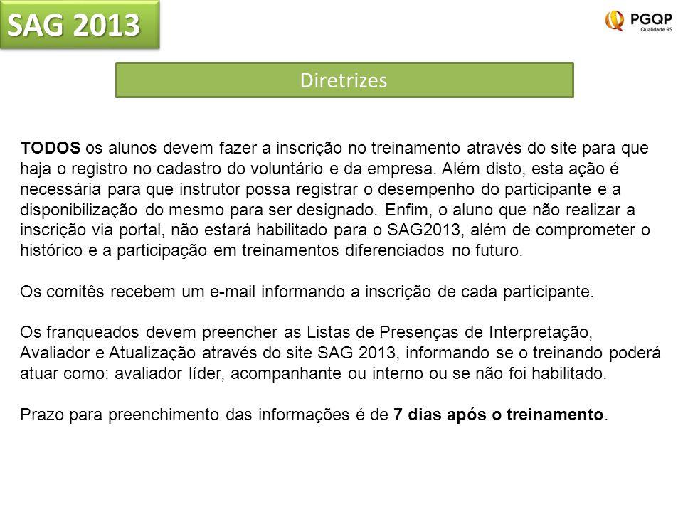 SAG 2013 Diretrizes TODOS os alunos devem fazer a inscrição no treinamento através do site para que haja o registro no cadastro do voluntário e da emp