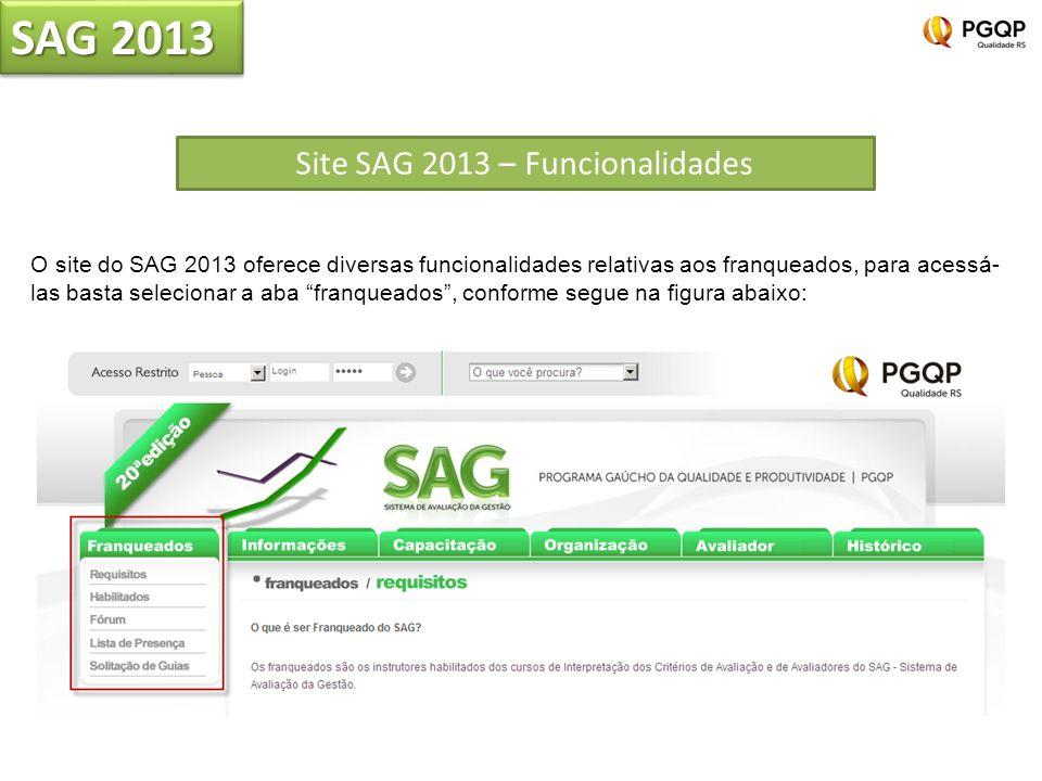 SAG 2013 Site SAG 2013 – Funcionalidades O site do SAG 2013 oferece diversas funcionalidades relativas aos franqueados, para acessá- las basta selecionar a aba franqueados, conforme segue na figura abaixo: