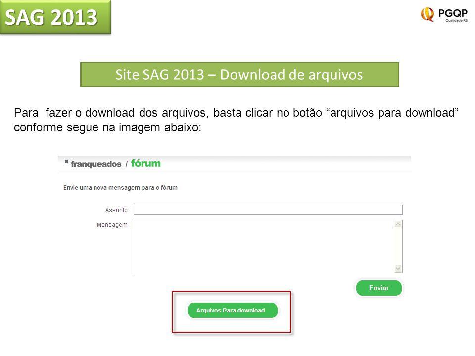 Site SAG 2013 – Download de arquivos SAG 2013 Para fazer o download dos arquivos, basta clicar no botão arquivos para download conforme segue na imagem abaixo: