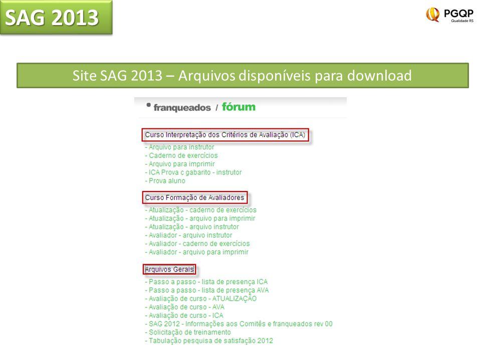 Site SAG 2013 – Arquivos disponíveis para download SAG 2013