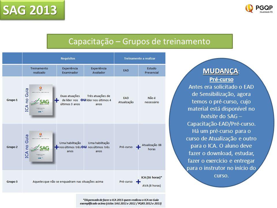 SAG 2013 Capacitação – Grupos de treinamento MUDANÇA MUDANÇA : Pré-curso Antes era solicitado o EAD de Sensibilização, agora temos o pré-curso, cujo material está disponível no hotsite do SAG – Capacitação-EAD/Pré-curso.