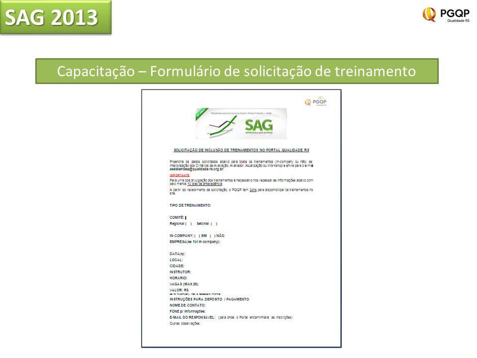 Capacitação – Formulário de solicitação de treinamento SAG 2013