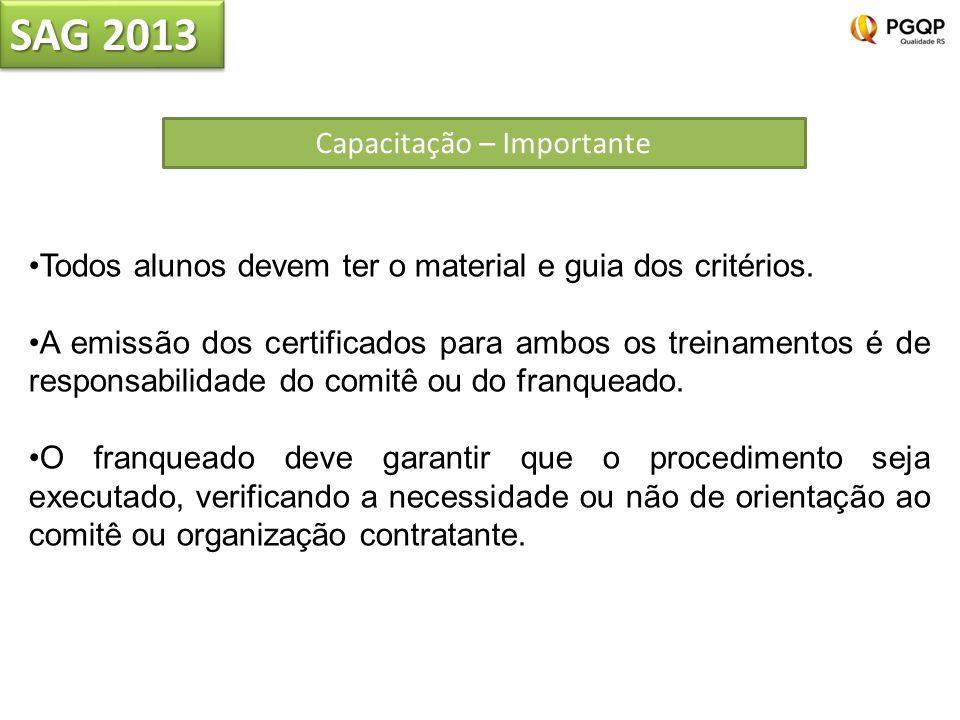 Capacitação – Importante Todos alunos devem ter o material e guia dos critérios. A emissão dos certificados para ambos os treinamentos é de responsabi