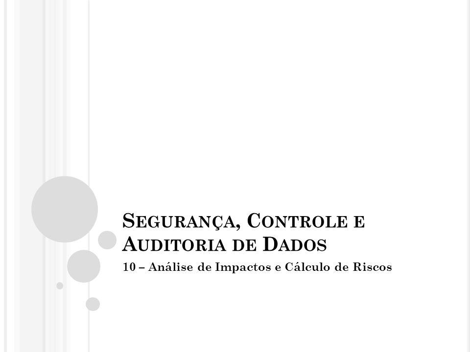 S EGURANÇA, C ONTROLE E A UDITORIA DE D ADOS 10 – Análise de Impactos e Cálculo de Riscos