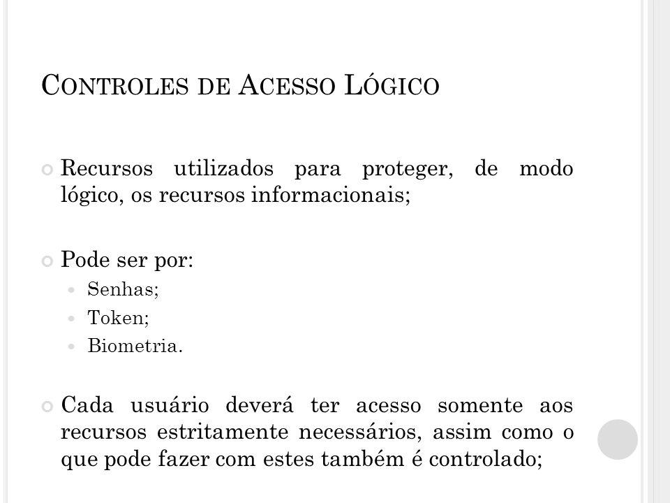 C ONTROLES DE A CESSO L ÓGICO Recursos utilizados para proteger, de modo lógico, os recursos informacionais; Pode ser por: Senhas; Token; Biometria.