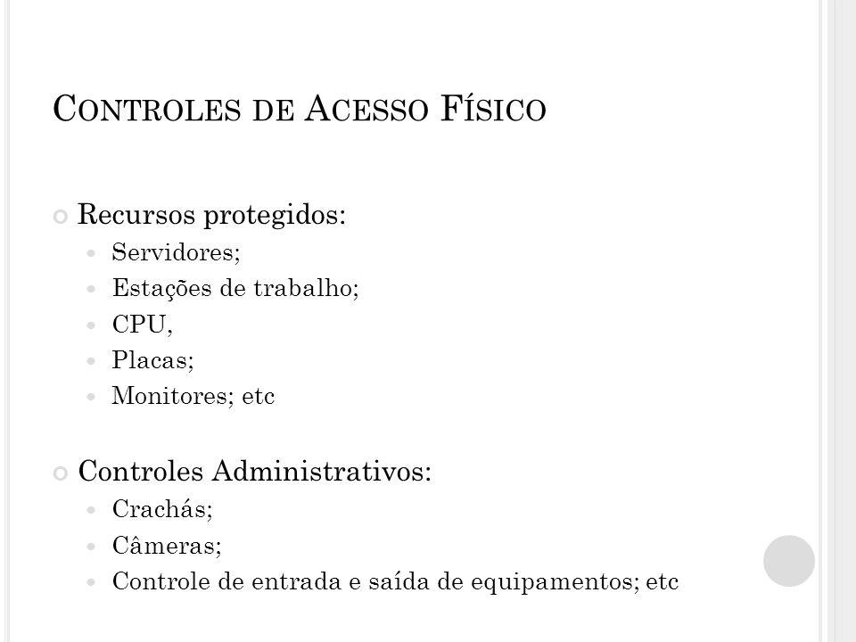 C ONTROLES DE A CESSO F ÍSICO Recursos protegidos: Servidores; Estações de trabalho; CPU, Placas; Monitores; etc Controles Administrativos: Crachás; Câmeras; Controle de entrada e saída de equipamentos; etc