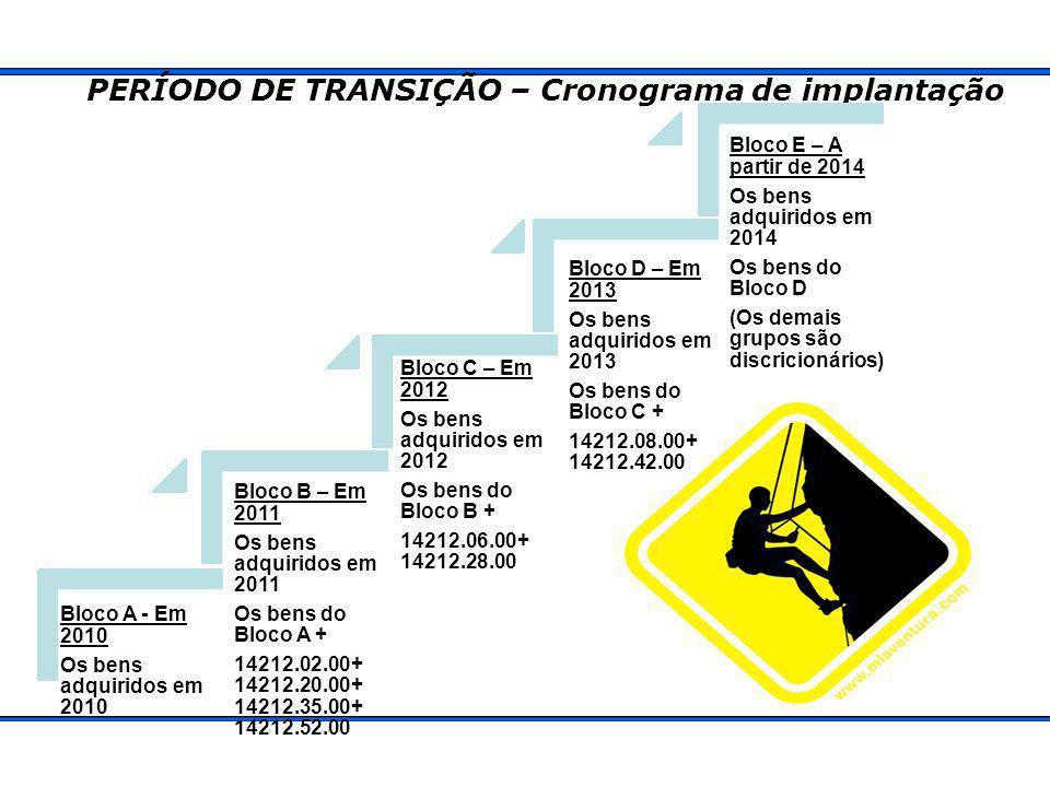 PERÍODO DE TRANSIÇÃO – Cronograma de implantação Bloco A - Em 2010 Os bens adquiridos em 2010 Bloco B – Em 2011 Os bens adquiridos em 2011 Os bens do Bloco A + 14212.02.00+ 14212.20.00+ 14212.35.00+ 14212.52.00 Bloco C – Em 2012 Os bens adquiridos em 2012 Os bens do Bloco B + 14212.06.00+ 14212.28.00 Bloco D – Em 2013 Os bens adquiridos em 2013 Os bens do Bloco C + 14212.08.00+ 14212.42.00 Bloco E – A partir de 2014 Os bens adquiridos em 2014 Os bens do Bloco D (Os demais grupos são discricionários)