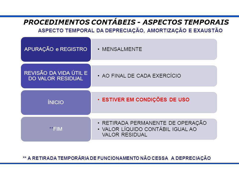 ASPECTO TEMPORAL DA DEPRECIAÇÃO, AMORTIZAÇÃO E EXAUSTÃO MENSALMENTE APURAÇÃO e REGISTRO AO FINAL DE CADA EXERCÍCIO REVISÃO DA VIDA ÚTIL E DO VALOR RESIDUAL ESTIVER EM CONDIÇÕES DE USO ÍNICIO RETIRADA PERMANENTE DE OPERAÇÃO VALOR LÍQUIDO CONTÁBIL IGUAL AO VALOR RESIDUAL **FIM ** A RETIRADA TEMPORÁRIA DE FUNCIONAMENTO NÃO CESSA A DEPRECIAÇÃO PROCEDIMENTOS CONTÁBEIS - ASPECTOS TEMPORAIS
