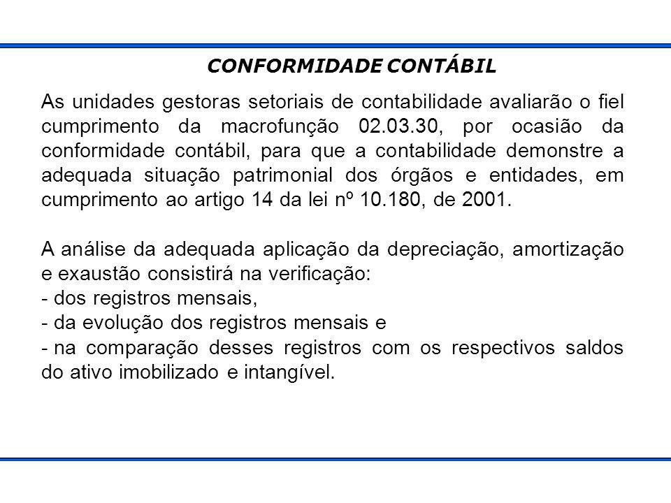 As unidades gestoras setoriais de contabilidade avaliarão o fiel cumprimento da macrofunção 02.03.30, por ocasião da conformidade contábil, para que a contabilidade demonstre a adequada situação patrimonial dos órgãos e entidades, em cumprimento ao artigo 14 da lei nº 10.180, de 2001.