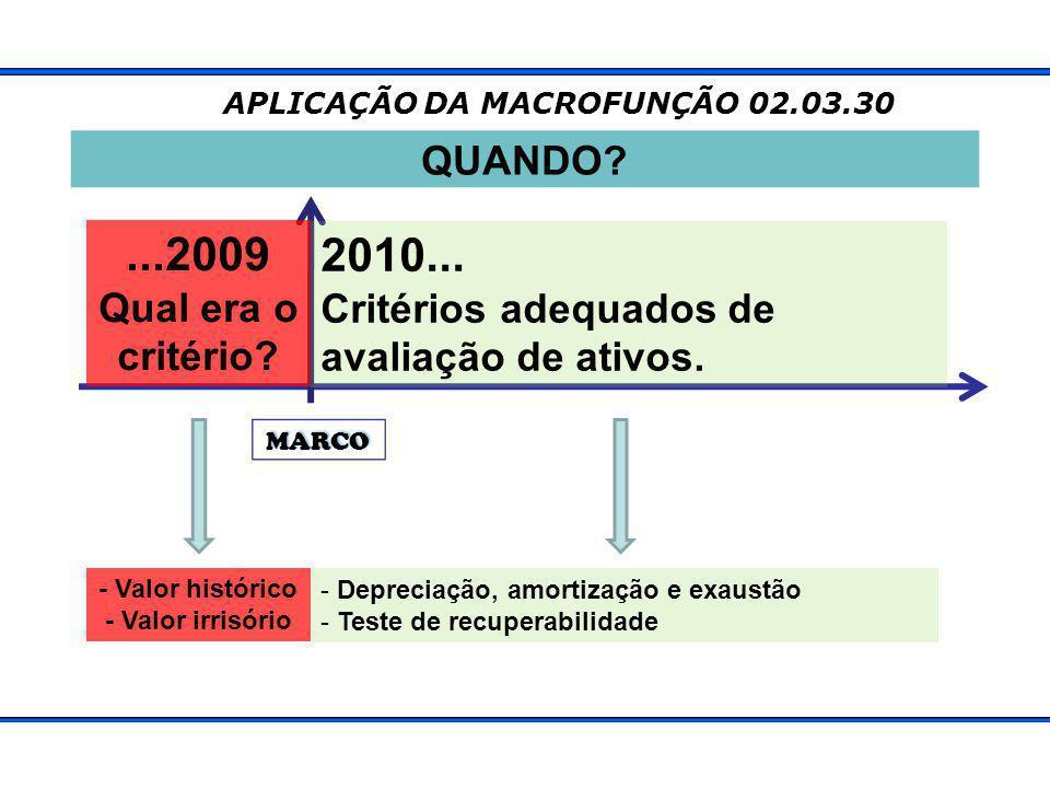 MARCO APLICAÇÃO DA MACROFUNÇÃO 02.03.30 QUANDO?...2009 Qual era o critério.