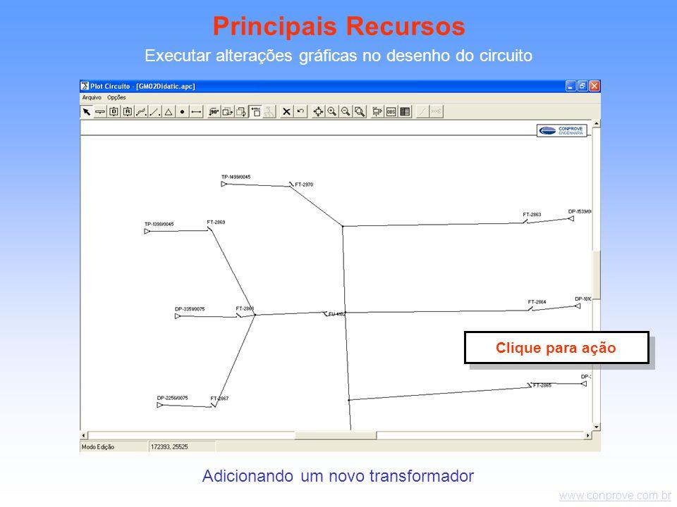 www.conprove.com.br Executar alterações gráficas no desenho do circuito Adicionando um novo transformador Principais Recursos Clique para ação