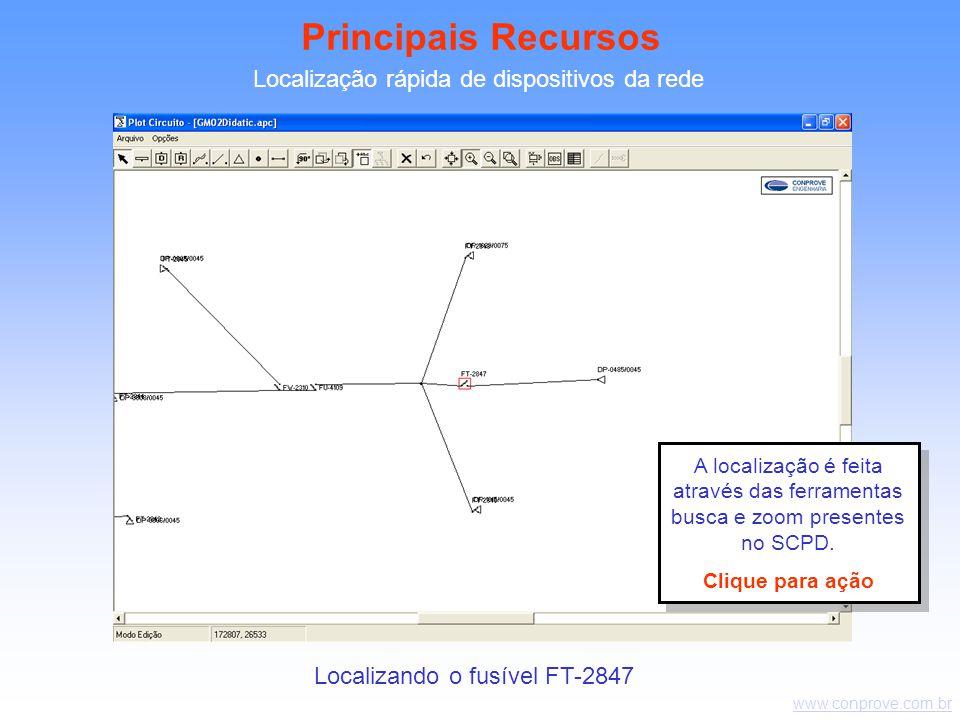 www.conprove.com.br Localização rápida de dispositivos da rede Localizando o fusível FT-2847 Principais Recursos A localização é feita através das ferramentas busca e zoom presentes no SCPD.