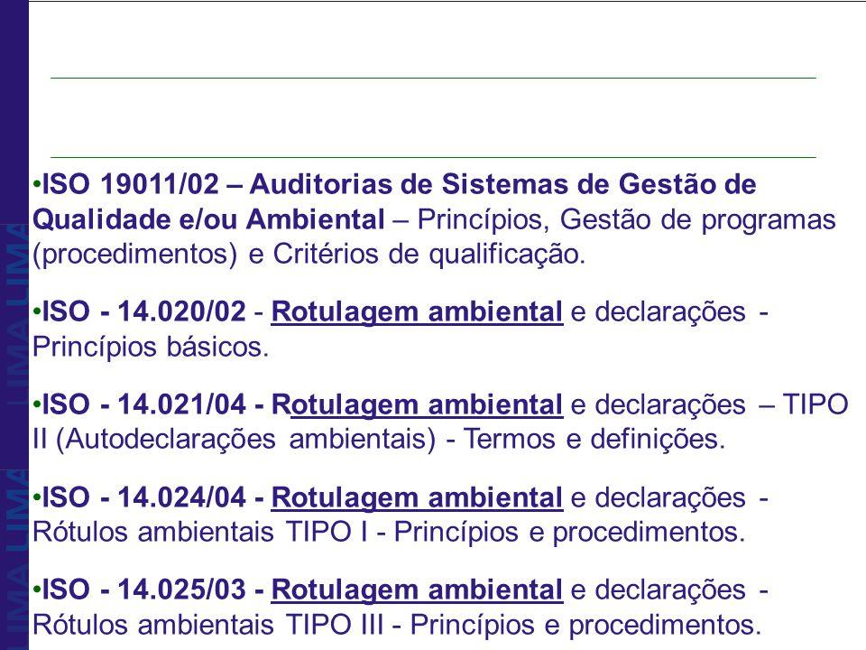 ISO 19011/02 – Auditorias de Sistemas de Gestão de Qualidade e/ou Ambiental – Princípios, Gestão de programas (procedimentos) e Critérios de qualifica