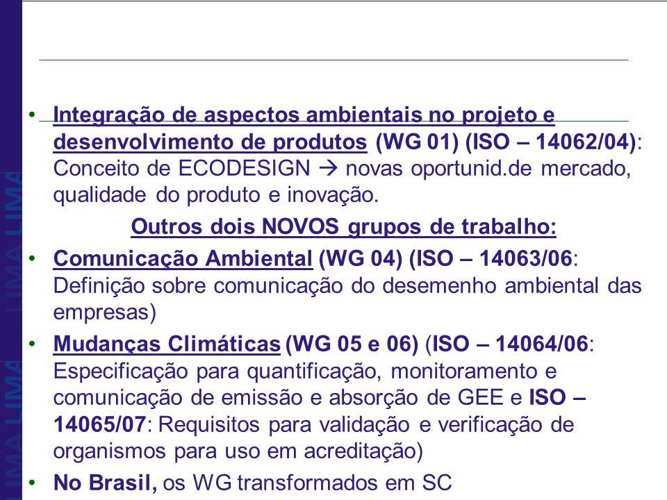 Integração de aspectos ambientais no projeto e desenvolvimento de produtos (WG 01) (ISO – 14062/04): Conceito de ECODESIGN novas oportunid.de mercado,