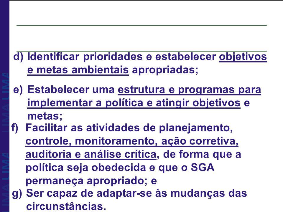 d)Identificar prioridades e estabelecer objetivos e metas ambientais apropriadas; e)Estabelecer uma estrutura e programas para implementar a política