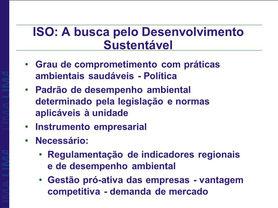 ISO: A busca pelo Desenvolvimento Sustentável Grau de comprometimento com práticas ambientais saudáveis - Política Padrão de desempenho ambiental dete
