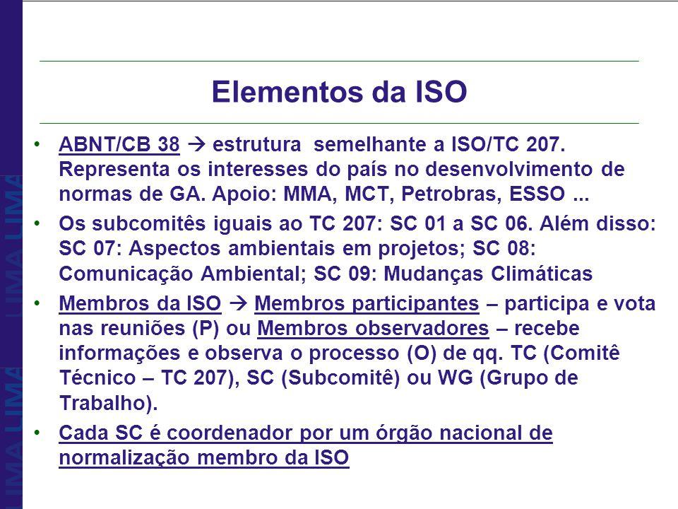 ABNT/CB 38 estrutura semelhante a ISO/TC 207. Representa os interesses do país no desenvolvimento de normas de GA. Apoio: MMA, MCT, Petrobras, ESSO...