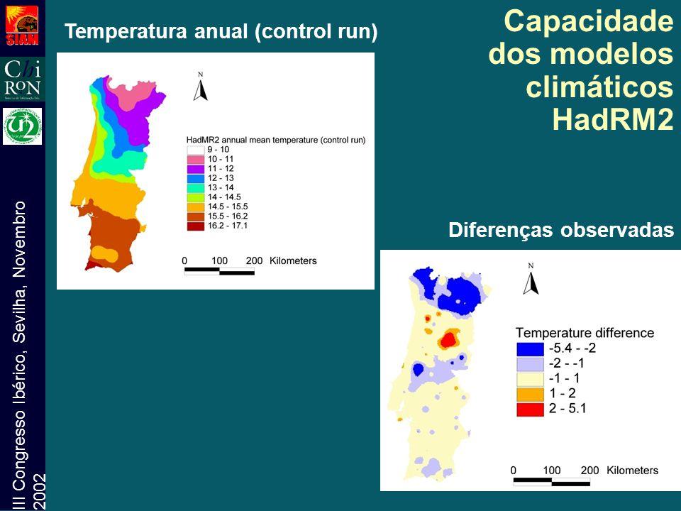 III Congresso Ibérico, Sevilha, Novembro 2002 Temperatura anual (control run) Diferenças observadas Capacidade dos modelos climáticos HadRM2