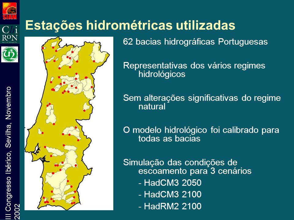 III Congresso Ibérico, Sevilha, Novembro 2002 Estações hidrométricas utilizadas 62 bacias hidrográficas Portuguesas Representativas dos vários regimes
